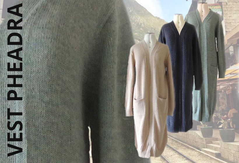 FortunaFairtrade damesmode lang vest pheadra in 100% alpaca