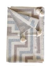Ruana, omslagdoek, creme-grijs-zand in grafisch design, 100% baby alpaca