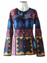 Vest intarsia alpaca multi kleuren