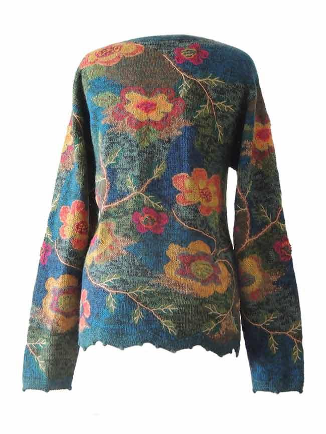 Alpaca Intarsia vest groen-multi bloemen