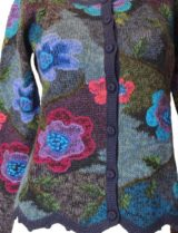 Alpaca Intarsia vest blauw-multi bloemen