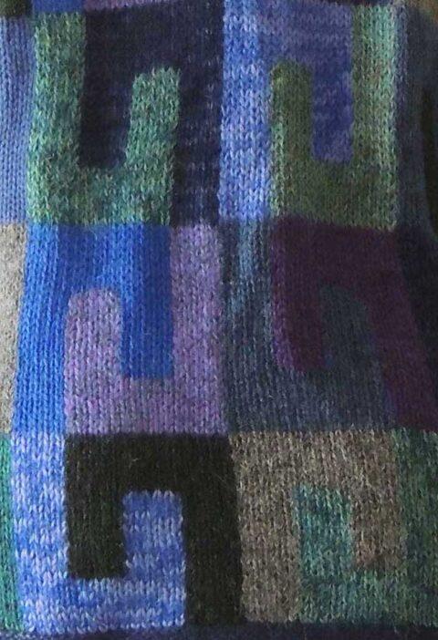 Alpaca Intarsia vest grafisch patroon blauw-multi.