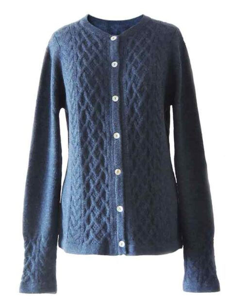 Dames vest met kabel patroon 100% alpaca, jeans blauw