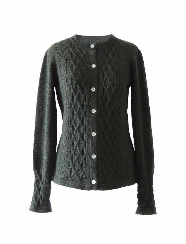 Dames vest met kabel patroon 100% alpaca, groen