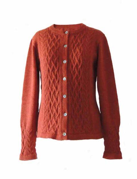 Dames vest met kabel patroon 100% alpaca, rood