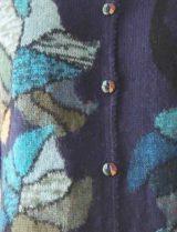 Dames vest alpaca met bloemen motief intarsia, blauw