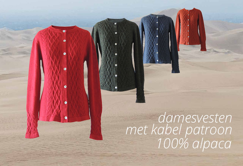 Fortuna Fairtrade warme dames vesten met kabel patroon 100% alpaca extra zacht